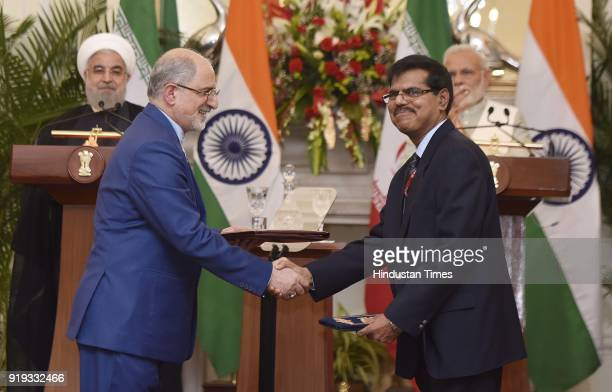 Ananta Narayan Secretary Department of Posts and Chairperson Postal Service with HE Gholamreza Ansari Ambassador of Iran exchange an agreement in the...