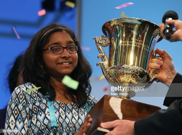 Ananya Vinay of Fresno CA won the 2017 Scripps National Spelling Bee by spelling the word 'marocain' at Gaylord National Resort Convention Center...
