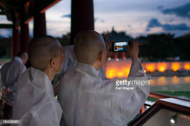 CONTENT] Anapji Pond Gyeongju Korea Monks with smartphone
