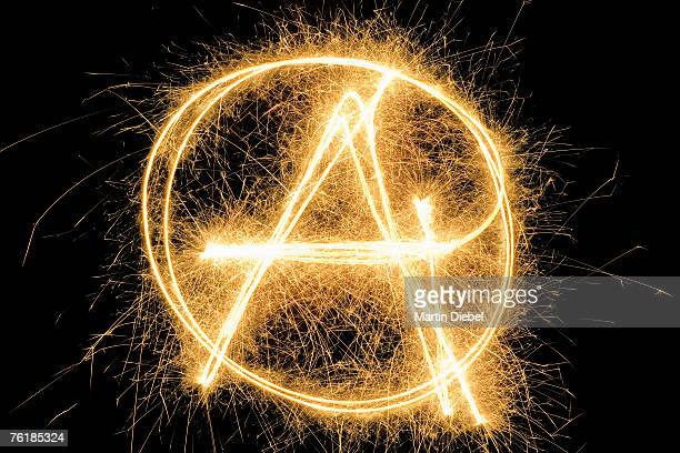 Anarchist Symbol drawn with a sparkler
