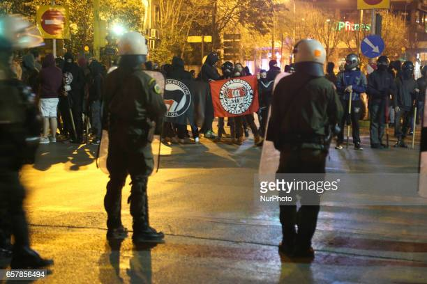 Anarchists protests againsts the speech of the far right party Golden Dawn in a hotel downtown in Thessaloniki Greece on 25 March 2017 The city...