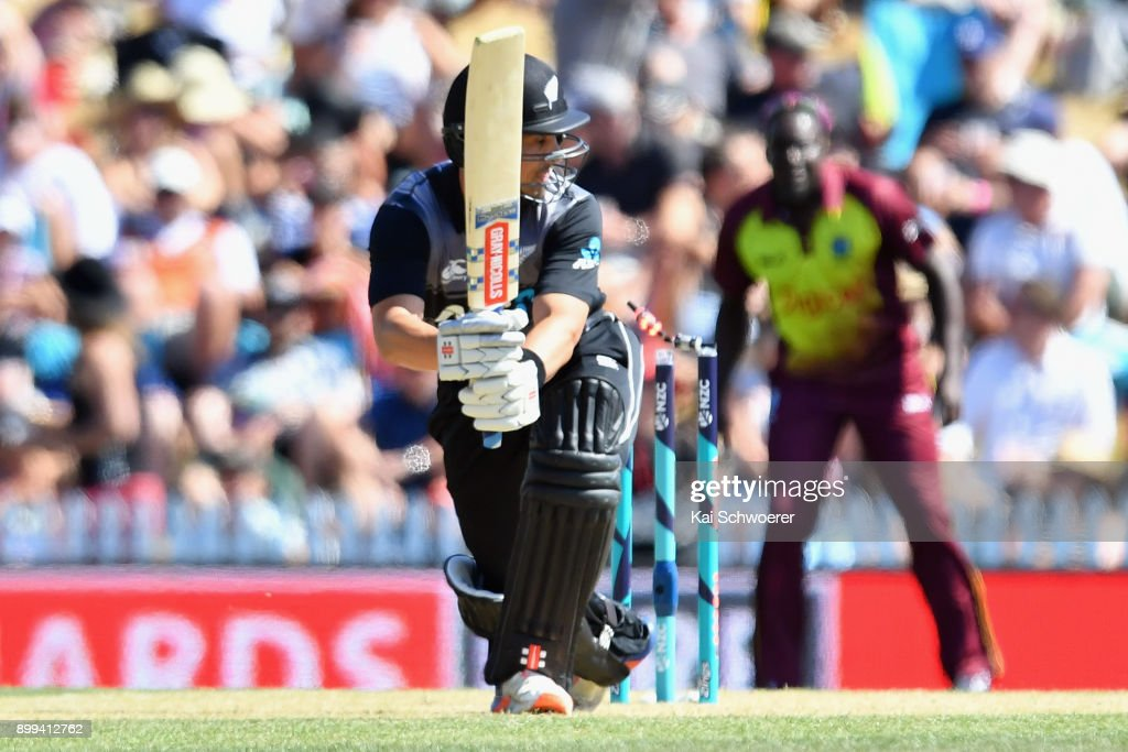 Anaru Kitchen of New Zealand is bowled by Kesrick Williams of the West Indies during game one of the Twenty20 series between New Zealand and the West Indies at Saxton Field on December 29, 2017 in Nelson, New Zealand.