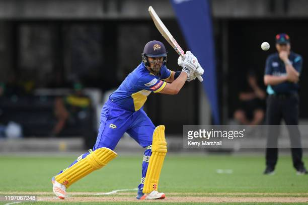 Anaru Kitchen of the Otago Volts plays a shot during the Dream11 Super Smash match between the Central Stags and the Otago Volts at McLean Park on...