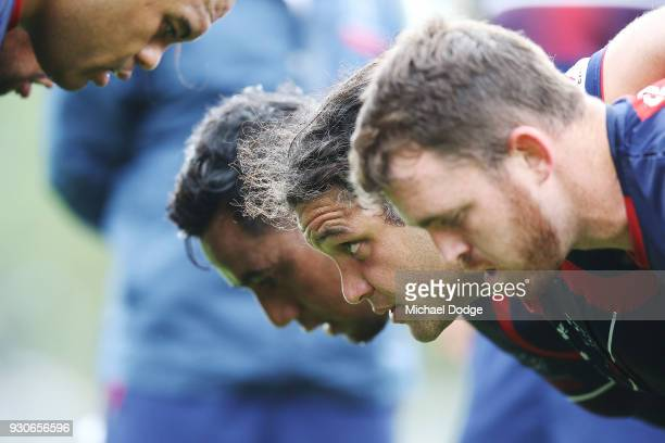 Anaru Rangi faces off in a scrum during a Melbourne Rebels Super Rugby training session at Gosch's Paddock on March 12 2018 in Melbourne Australia