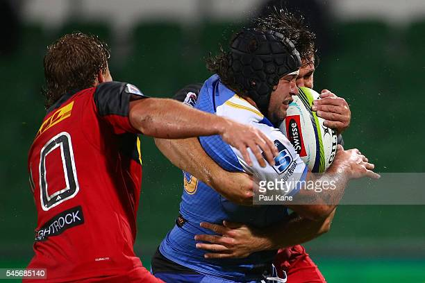 Anaru Rangi of the Force runs the ball during the round 16 Super Rugby match between the Force and the Stormers at nib Stadium on July 9 2016 in...