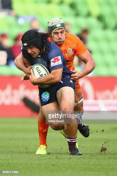 Anaru Rangi of the Rebals runs with the ball during the round nine Super Rugby match between the Rebels and the Jaguares at AAMI Park on April 14...