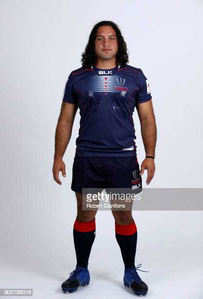 Anaru Rangi of the Rebels poses during the Melbourne Rebels Super Rugby headshots session at AAMI Park on January 17 2018 in Melbourne Australia