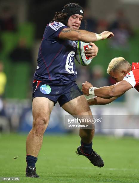 Anaru Rangi of the Rebels runs with the ball during the round 15 Super Rugby match between the Rebels and the Sunwolves at AAMI Park on May 25 2018...