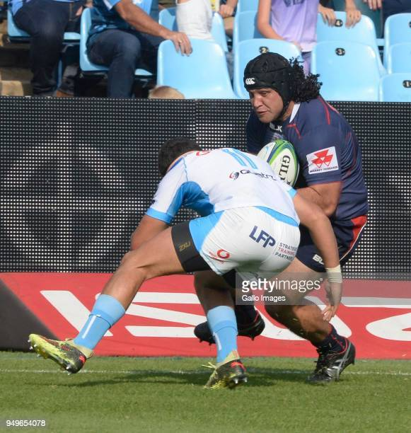 Anaru Rangi of the Rebels tackled by Divan Rossouw of the Bulls during the Super Rugby match between Vodacom Bulls and Rebels at Loftus Versfeld on...