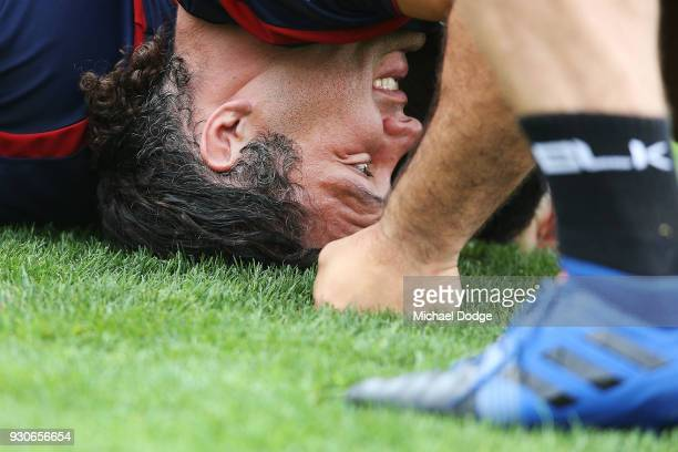 Anaru Rangigets stuck down in a scrum during a Melbourne Rebels Super Rugby training session at Gosch's Paddock on March 12 2018 in Melbourne...