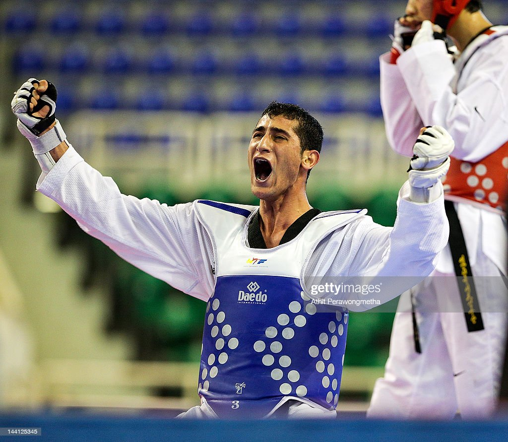 Anas Jalal Mohammad Aladarbi of Jordan reacts after winning against Seo Jong-Bin of Korea during day two of the 20th Asian Taekwondo Championships at Phu Tho Stadium on May 10, 2012 in Ho Chi Minh City, Vietnam.