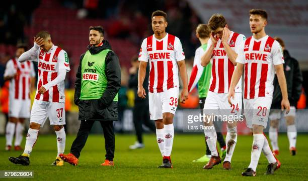Anas Ouahim Leonardo Bittencourt Nikolas Nartey Lukas Kluenter and Salih Oezcan of Koeln are looking dejected after loosing the Bundesliga match...