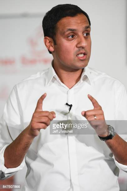 Anas Sarwar speaks on stage at the launch of his campaign to be Scottish Labour Leader at the Gorbals Parish Church on September 15 2017 in Glasgow...