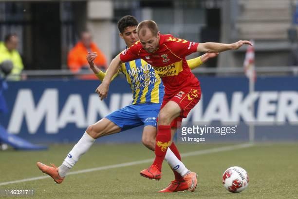 Anas Tahiri of RKC Waalwijk Istvan Bakx of Go Ahead Eagles during the Dutch Keuken Kampioen Divisie play off final first leg match between RKC...