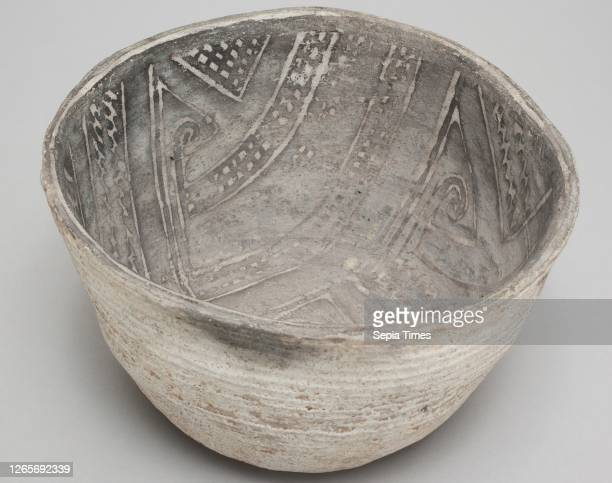 Anasazi, Native American, Bowl, between 1100 and 1300, grey ware, white slip, black paint, Overall: 3 1/2— 6 1/4— 5 3/4 inches .