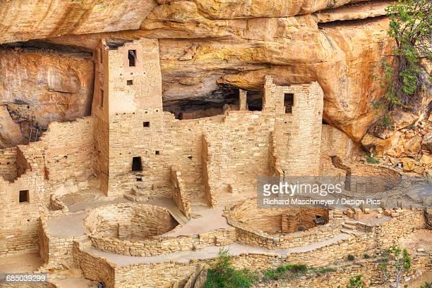 anasazi ruins, cliff palace, mesa verde national park - mesa stock-fotos und bilder