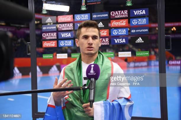 Anaskhon Rakhmatov of Uzbekistan talks to the media during the FIFA Futsal World Cup 2021 group B match between Egypt and Uzbekistan at Vilnius Arena...