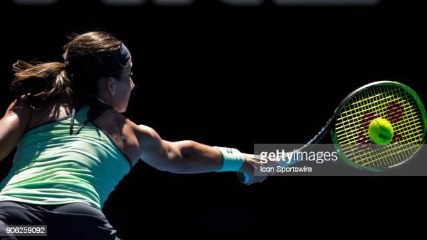 Anasrasija Sevastova of Latvia plays a shot in her second round match during the 2018 Australian Open on January 18 at Melbourne Park Tennis Centre...