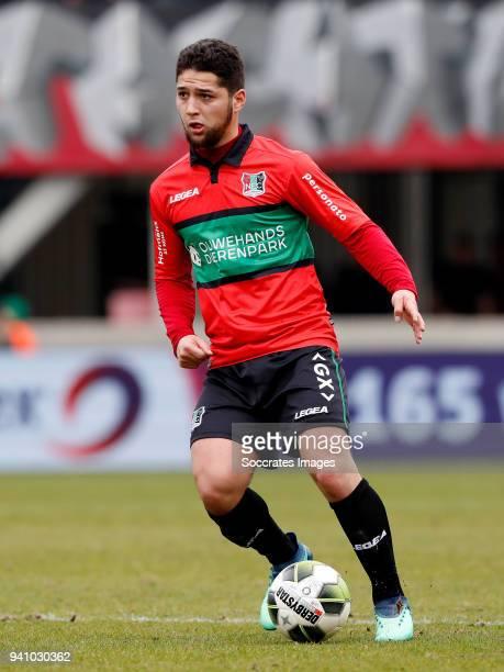 Anass Achahbar of NEC Nijmegen during the Dutch Jupiler League match between NEC Nijmegen v Telstar at the Goffert Stadium on April 2 2018 in...