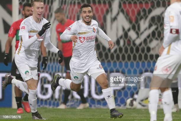 Anass Najah of Telstar celebrate goal during the Dutch Keuken Kampioen Divisie match between NEC Nijmegen v Telstar at the Goffert Stadium on January...