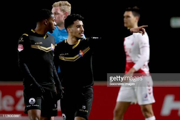 Anass Najah of Telstar celebrates 01 with Shaquill Sno of Telstar during the Dutch Keuken Kampioen Divisie match between Utrecht U23 v Telstar at the...