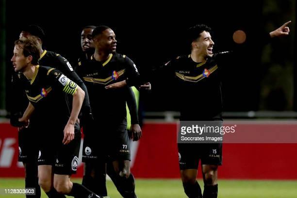 Anass Najah of Telstar celebrates 01 with Terell Ondaan of Telstar during the Dutch Keuken Kampioen Divisie match between Utrecht U23 v Telstar at...