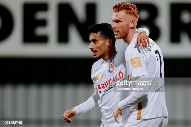Anass Najah of Telstar celebrates 02 with Dylan Mertens of Telstar during the Dutch Keuken Kampioen Divisie match between Helmond Sport v Telstar at...