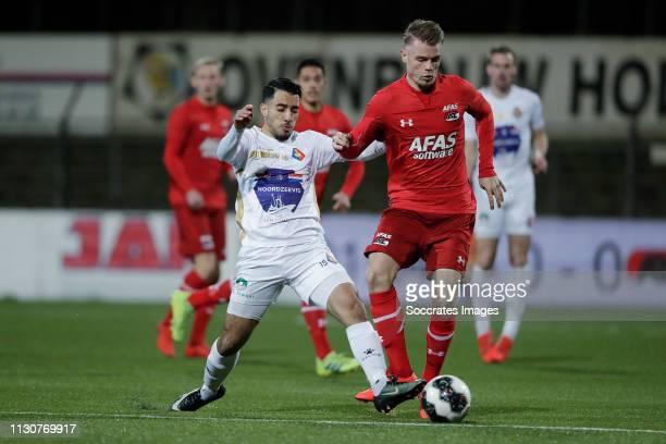 Anass Najah of Telstar Jamie Jacobs of AZ Alkmaar U23 during the Dutch Keuken Kampioen Divisie match between Telstar v AZ Alkmaar U23 at the Rabobank...