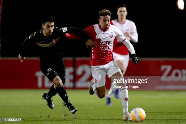Anass Najah of Telstar Keelan Lebon of FC Utrecht U23 during the Dutch Keuken Kampioen Divisie match between Utrecht U23 v Telstar at the Sportpark...