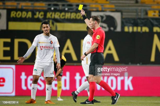 Anass Najah of Telstar Referee Danny Makkelie during the Dutch Keuken Kampioen Divisie match between Roda JC v Telstar at the Parkstad Limburg...