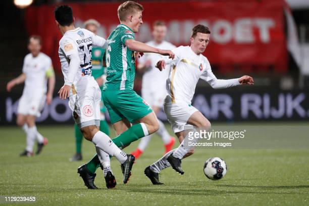 Anass Najah of Telstar Thijs Timmermans of FC Dordrecht Sven van Doorm of Telstar during the Dutch Keuken Kampioen Divisie match between Telstar v FC...