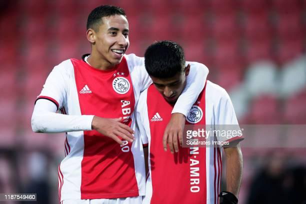Anass Salah Eddine of Ajax U19 Naci Unuvar of Ajax U19 during the match between Ajax U19 v Valencia U19 at the De Toekomst on December 10 2019 in...