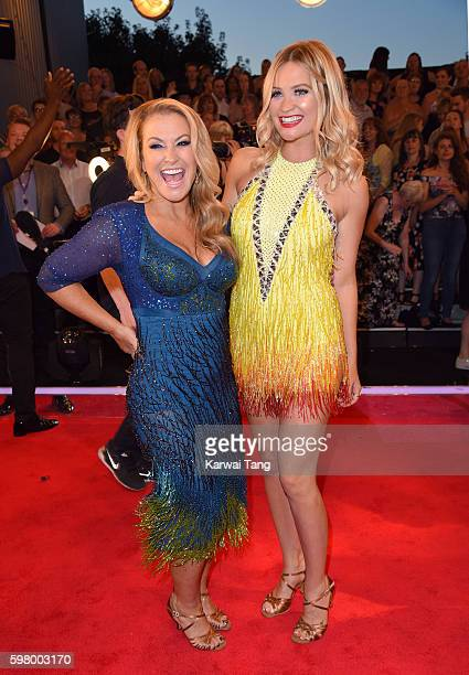 Anastacia and Laura Whitmore arrive for the Red Carpet Launch of 'Strictly Come Dancing 2016' at Elstree Studios on August 30 2016 in Borehamwood...