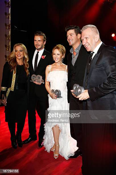Anastacia David Beckham Kylie Minogue Robin Thicke and JeanPaul Gaultier are seen at the GQ Men Of The Year Award at Komische Oper on November 7 2013...