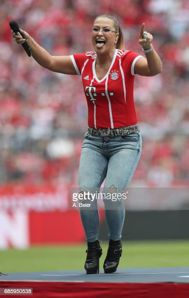 Anastacia performs during the Bundesliga match between Bayern Muenchen and SC Freiburg at Allianz Arena on May 20 2017 in Munich Germany