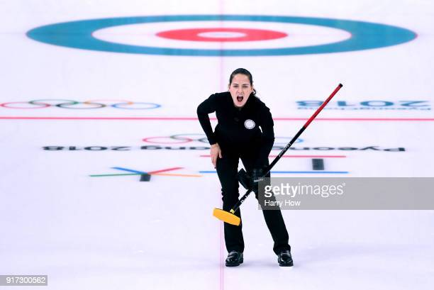 Anastaia Bryzgalova of Olympic Athete from Russia reacts to her shot in a 75 loss to Switzerland during the Curling Mixed Doubles SemiFinals Session...