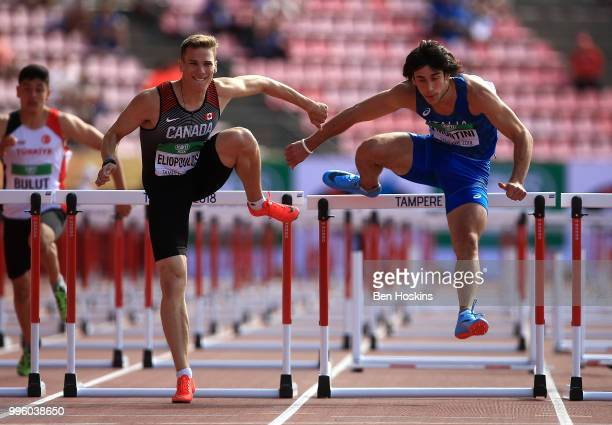 Anastas Eliopoulos of Canada and Mattia Montini of Italy in action during heat 6 of the men's 110m hurdles on day two of The IAAF World U20...
