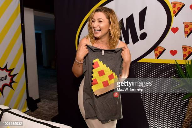 Anastasia Baranova from SYFY's 'Z Nation' poses with a Pizza Hut tshirt the Pizza Hut Lounge at 2018 ComicCon International San Diego at Andaz San...
