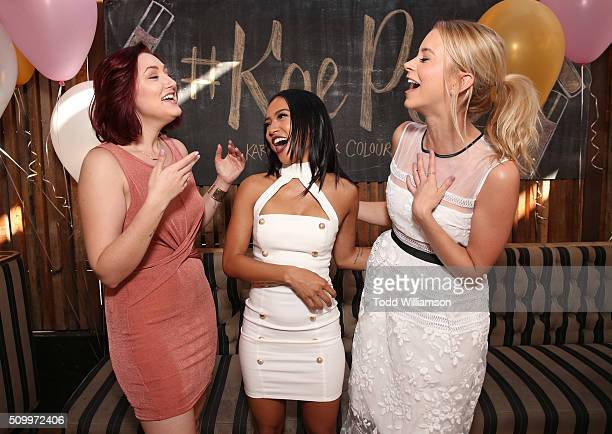 Anastasia Baranova Karrueche Tran and Sabina Gadecki attend the KaePop Brunch Karrueche x ColourPop at Eveleigh on February 12 2016 in West Hollywood...
