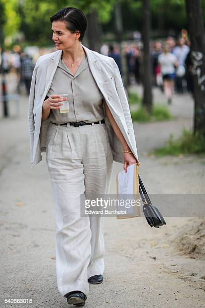 Anastasia Barbieri is seen after the Dries Van Noten show during Paris Fashion Week Menswear Spring/summer 2017 on June 23 2016 in Paris France