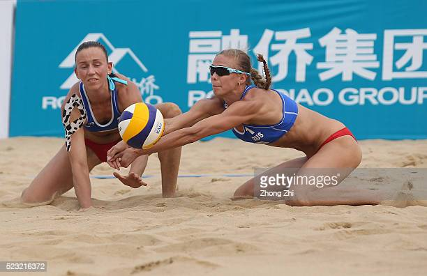 Anastasia Barsuk of Russia and Moiseeva Alxandra of Russia in action during the match against Lauren Fendrick and Sweat Brooke of USA during the FIVB...