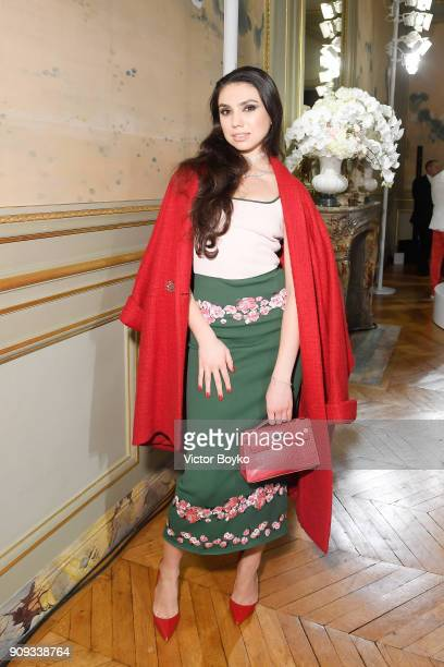 Anastasia Belyak attends the Ulyana Sergeenko Presentation as part of Paris Fashion Week Haute Couture Spring Summer 2018 show as part of Paris...