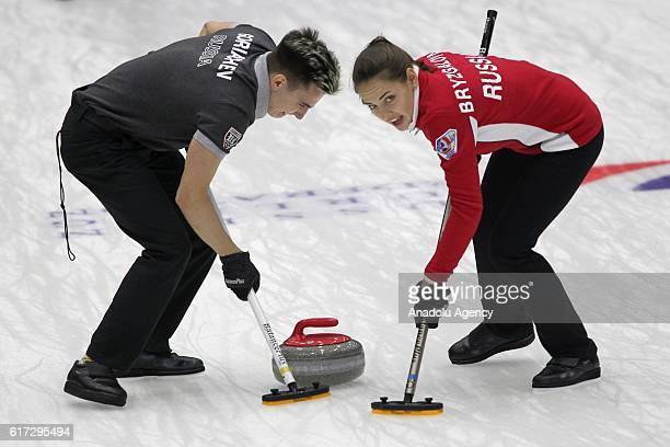 Anastasia Bryzgalova and Daniil Goriachev of Russia in action during final game between Russia and Sweden within the World Mixed Curling Championship...