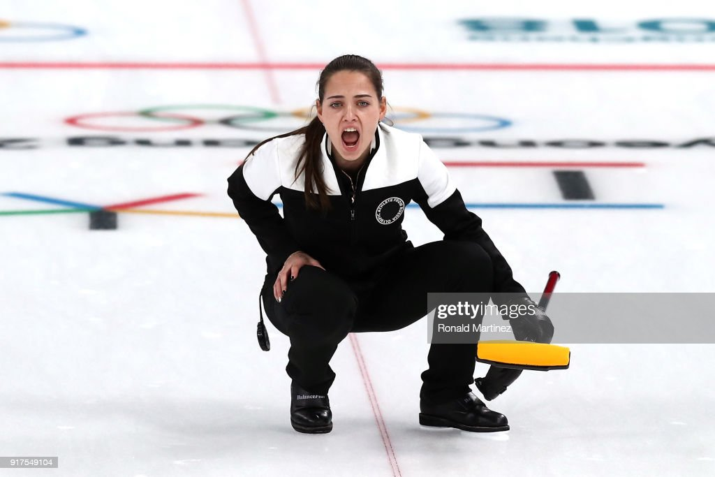 Anastasia Bryzgalova Of Olympic Athletes From Russia Calls A Command Against Norway During The Curling Mixed