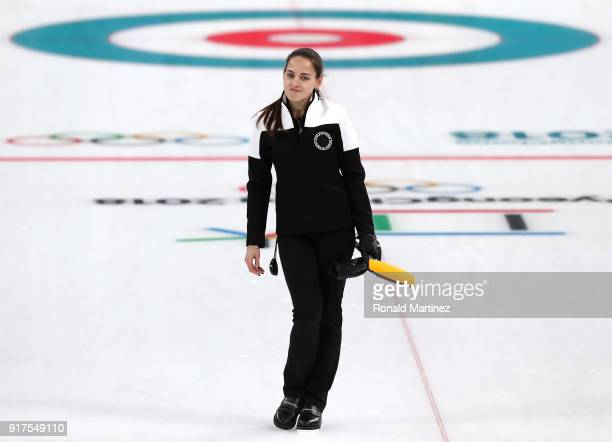 Anastasia Bryzgalova of Olympic Athletes from Russia calls a command against Norway during the Curling Mixed Doubles Bronze Medal Game on day four of...