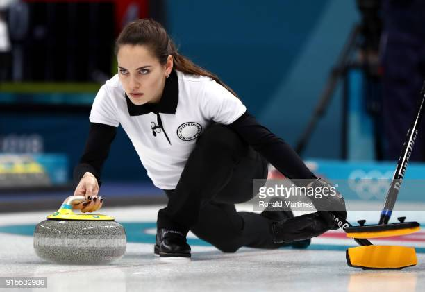 Anastasia Bryzgalova of Olympic Athletes from Russia delivers a stone in the Curling Mixed Doubles Round Robin Session 1 during the PyeongChang 2018...