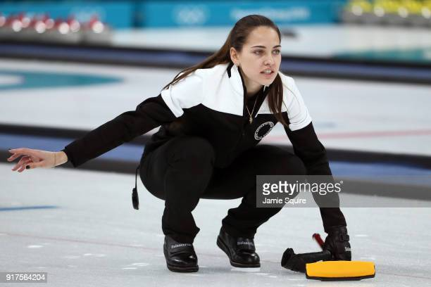 Anastasia Bryzgalova of Olympic Athletes from Russia delivers a stone against Norway during the Curling Mixed Doubles Bronze Medal Game on day four...