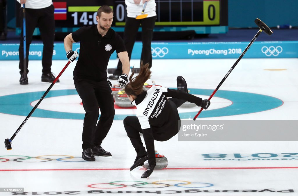 Anastasia Bryzgalova of Olympic Athletes from Russia falls as she competes against Norway during the Curling Mixed Doubles Bronze Medal Game on day four of the PyeongChang 2018 Winter Olympic Games at Gangneung Curling Centre on February 13, 2018 in Gangneung, South Korea.
