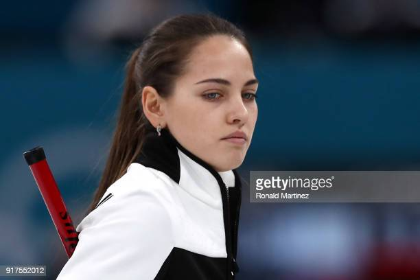 Anastasia Bryzgalova of Olympic Athletes from Russia looks on against Norway during the Curling Mixed Doubles Bronze Medal Game on day four of the...