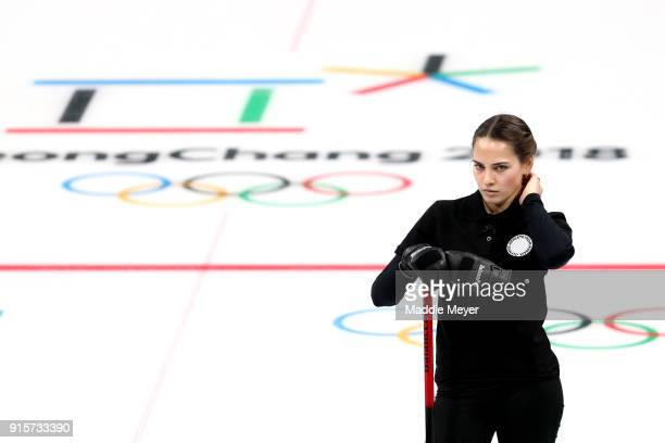 Anastasia Bryzgalova of Olympic Athletes from Russia looks on during her game against Finland in the Curling Mixed Doubles Round Robin Session 2...